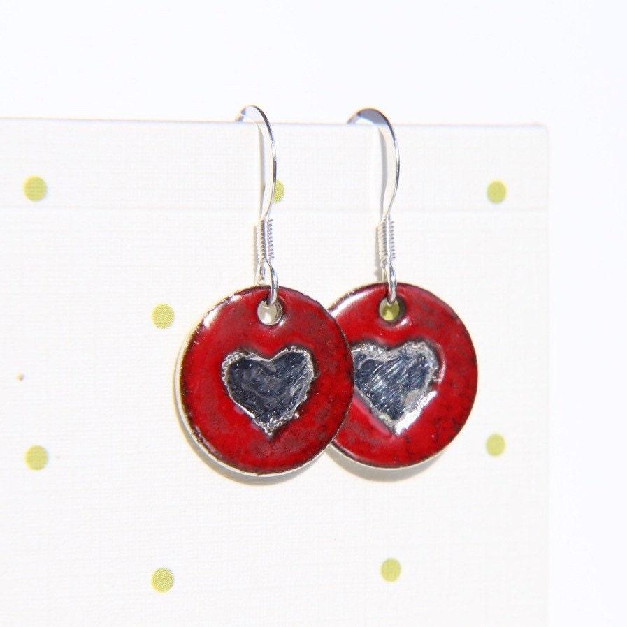 Silver Heart Earrings  Sterling silver red heart earrings  enamel on silver disks  silver disk earrings  bright red heart earrings round