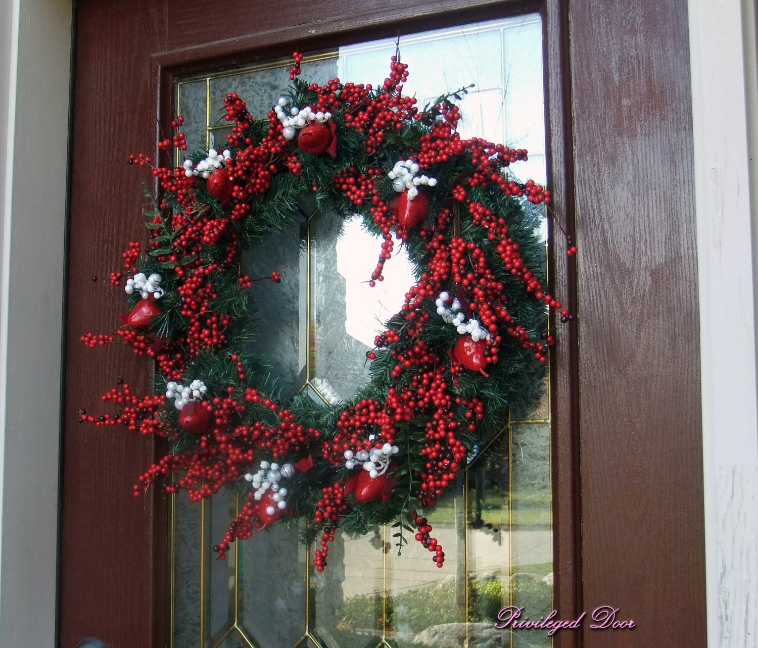 Jack frost berry wreath xl elegant christmas by privilegeddoor for Elegant christmas decorations for sale