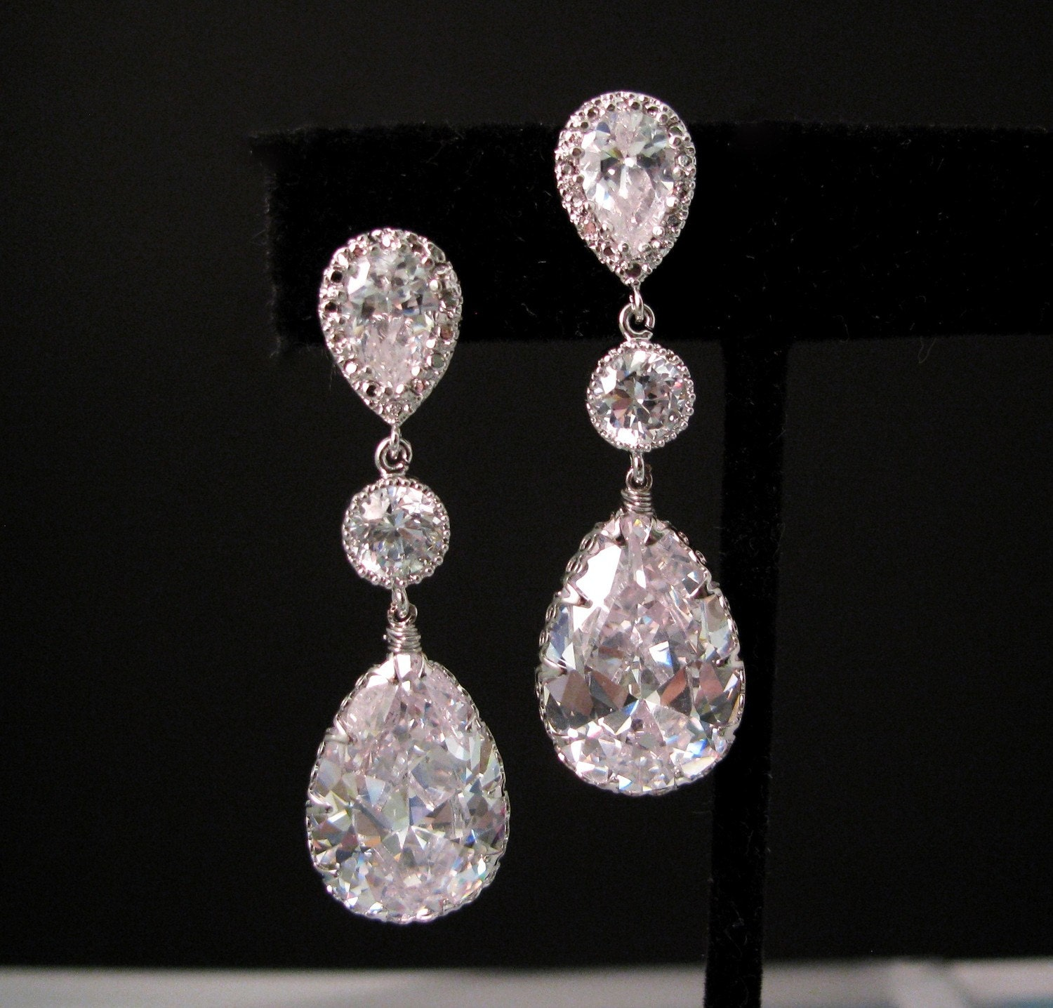 bridal wedding Clear white teardrop AAA cubic zirconia on teardrop cz white gold post earrings with circular cz connectors
