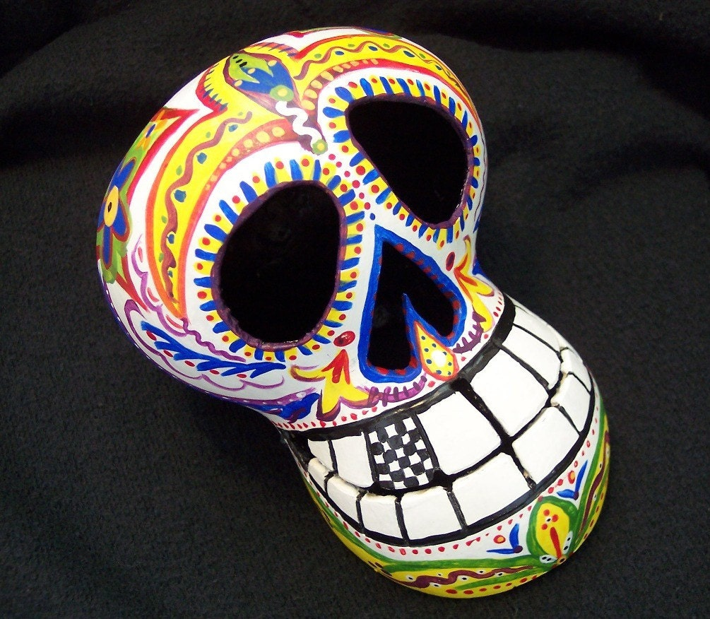 Cornelius Gourd Sugar Skull Day of the Dead Folkart