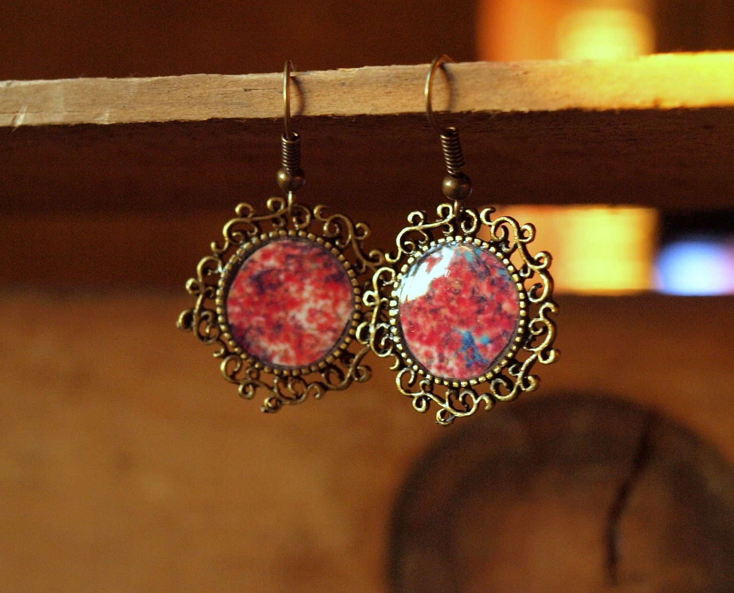 Cherry Blossoms Antique Photographic Earrings