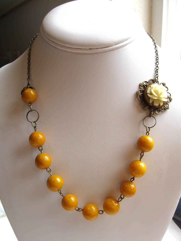 Autumn Flower Necklace OOAK, yellow jade