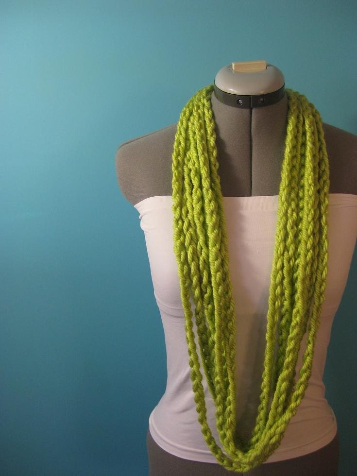 The Chunky Chain Me Up - SKINNY Crocheted Necklace/ LIME LIGHT