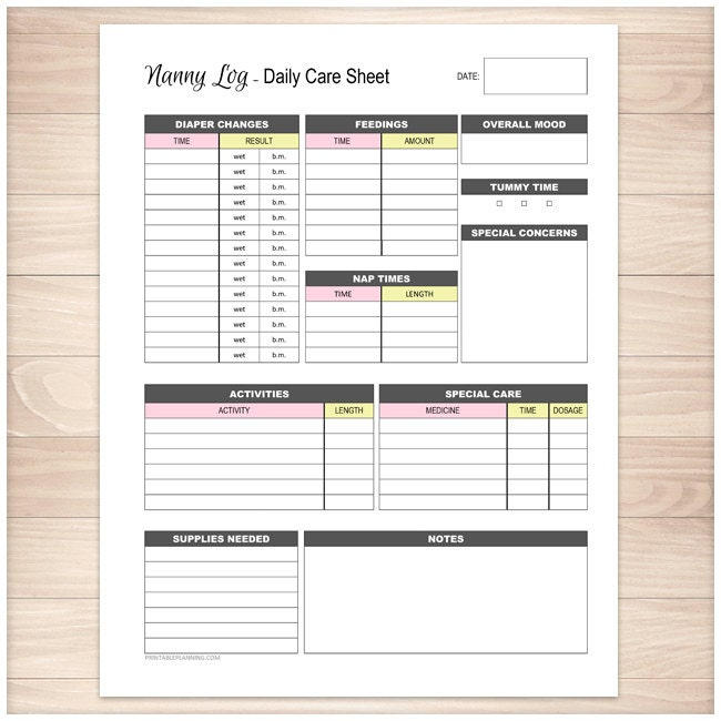 Daily Activity Log For Babysitter – Printable Editable Blank ...