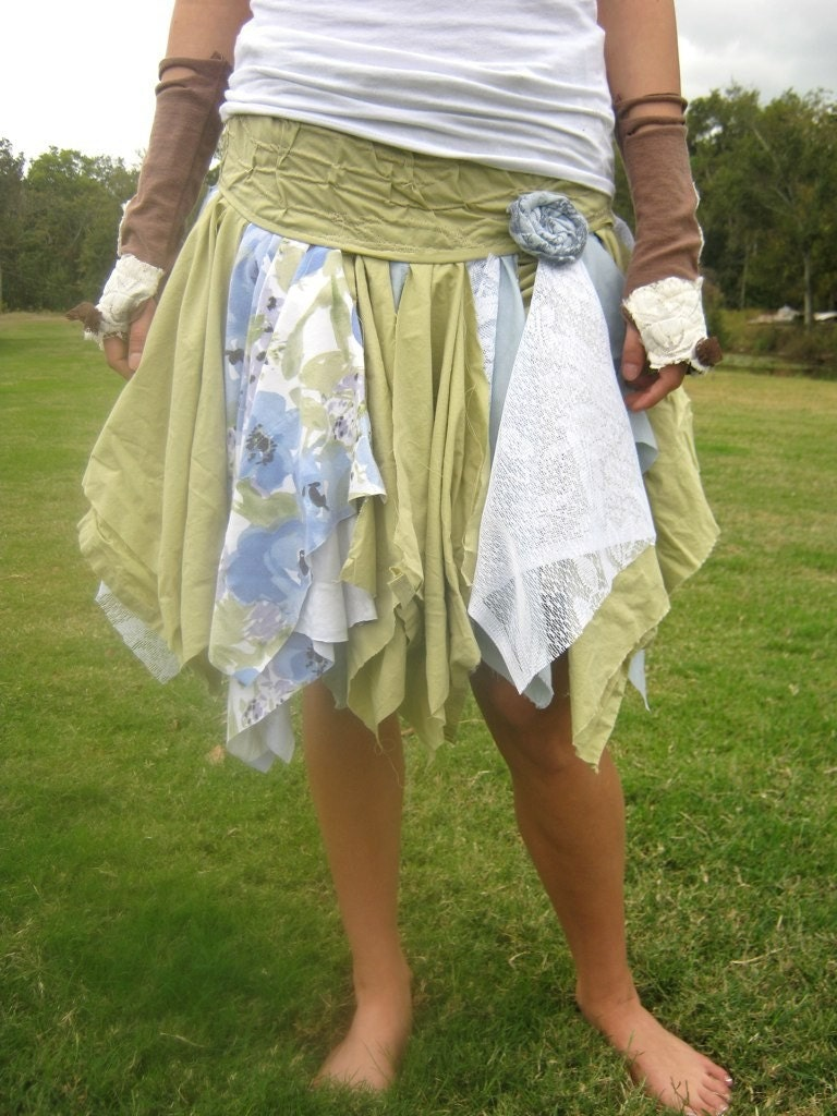Funky Eco Fall Tattered Fairy Pixie Mini Skirt by CreoleSha from etsy.com