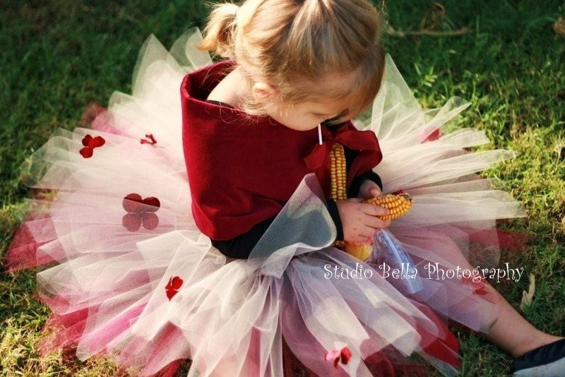 Enchanted Tutu, Burgandy and Cream, Toddler size up to 5 years, Perfect Flower girls and Valentines Day Portraits