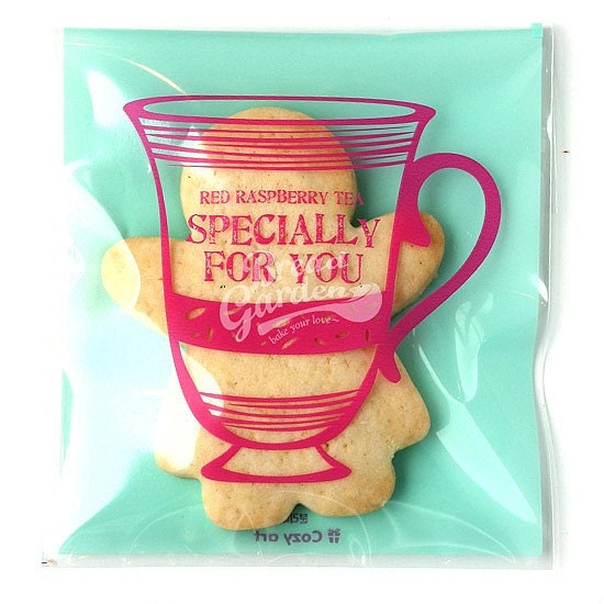20 Tea Cup Printing Cello Poly Bag Envelope - red raspberry tea - 100 X 110mm