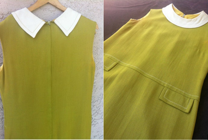 Early 60s Vintage Chartreuse Jackie O School Girl Mini Dress