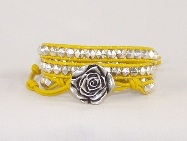 Yellow Leather Wrap Bracelet, Rose Design,  Ladies Leather Jewelry, Unique Gift Idea, Free Shipping, Available in All Colors