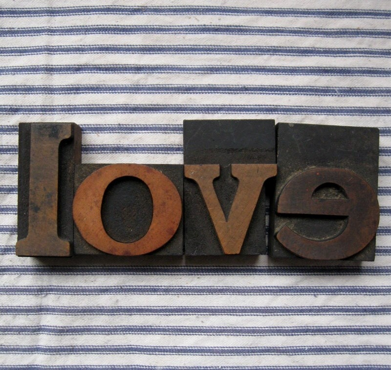 Antique Wooden letterpress print blocks love set3