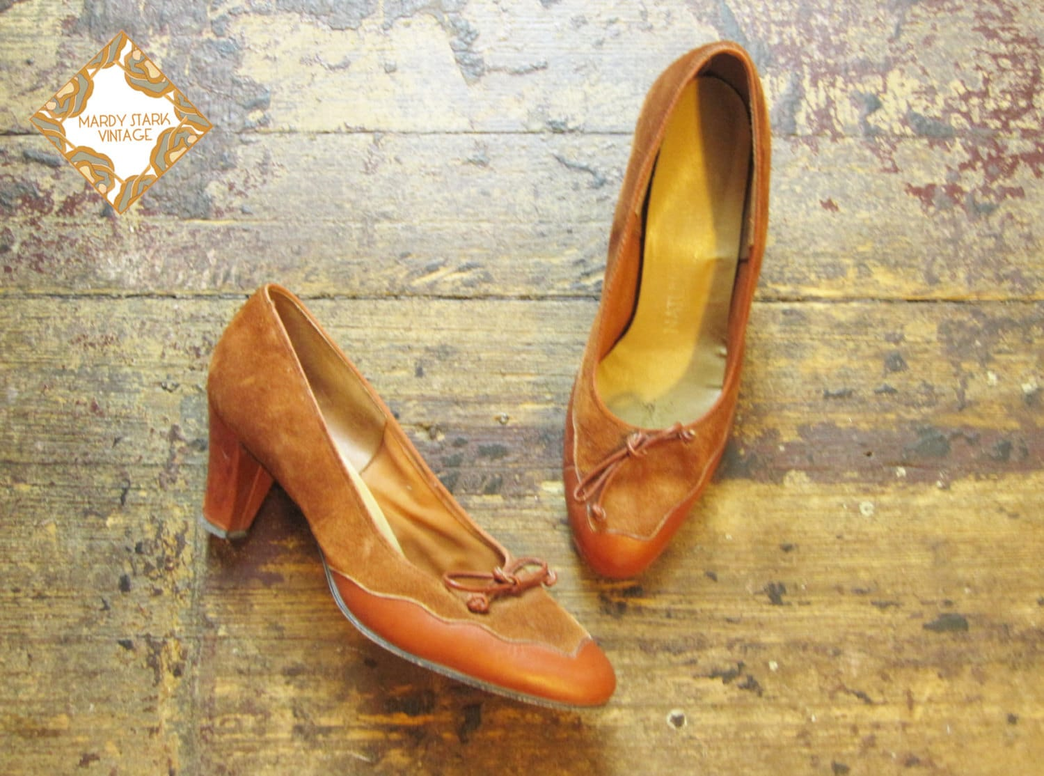 Vintage shoes /  rust heels /  1970s /  leather and suede  / court shoe /  rust, tan / heels / size 6 and half - MardyStark