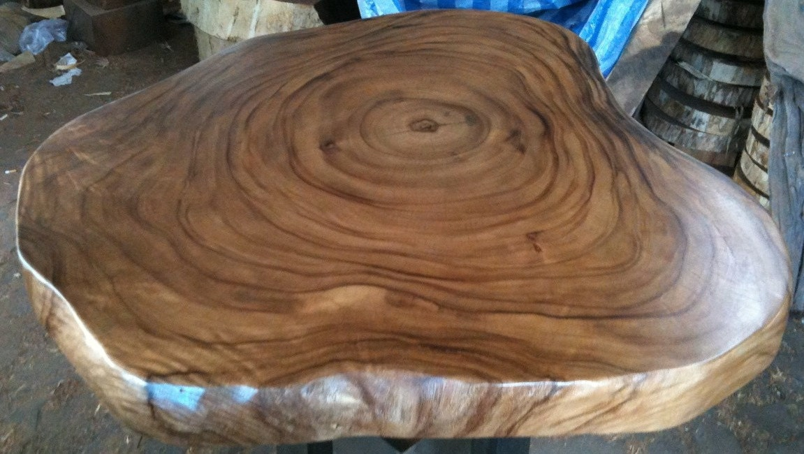 Live Edge Coffee Table Reclaimed Acacia Wood Solid Slab By Flowbkk