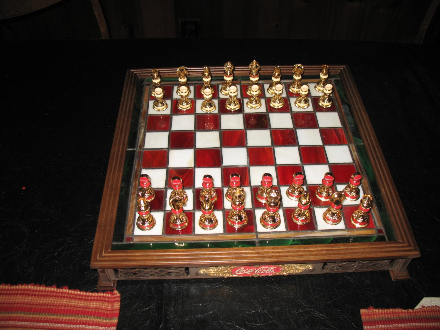 Coca Cola Stained Glass Chess Set With 24 K By