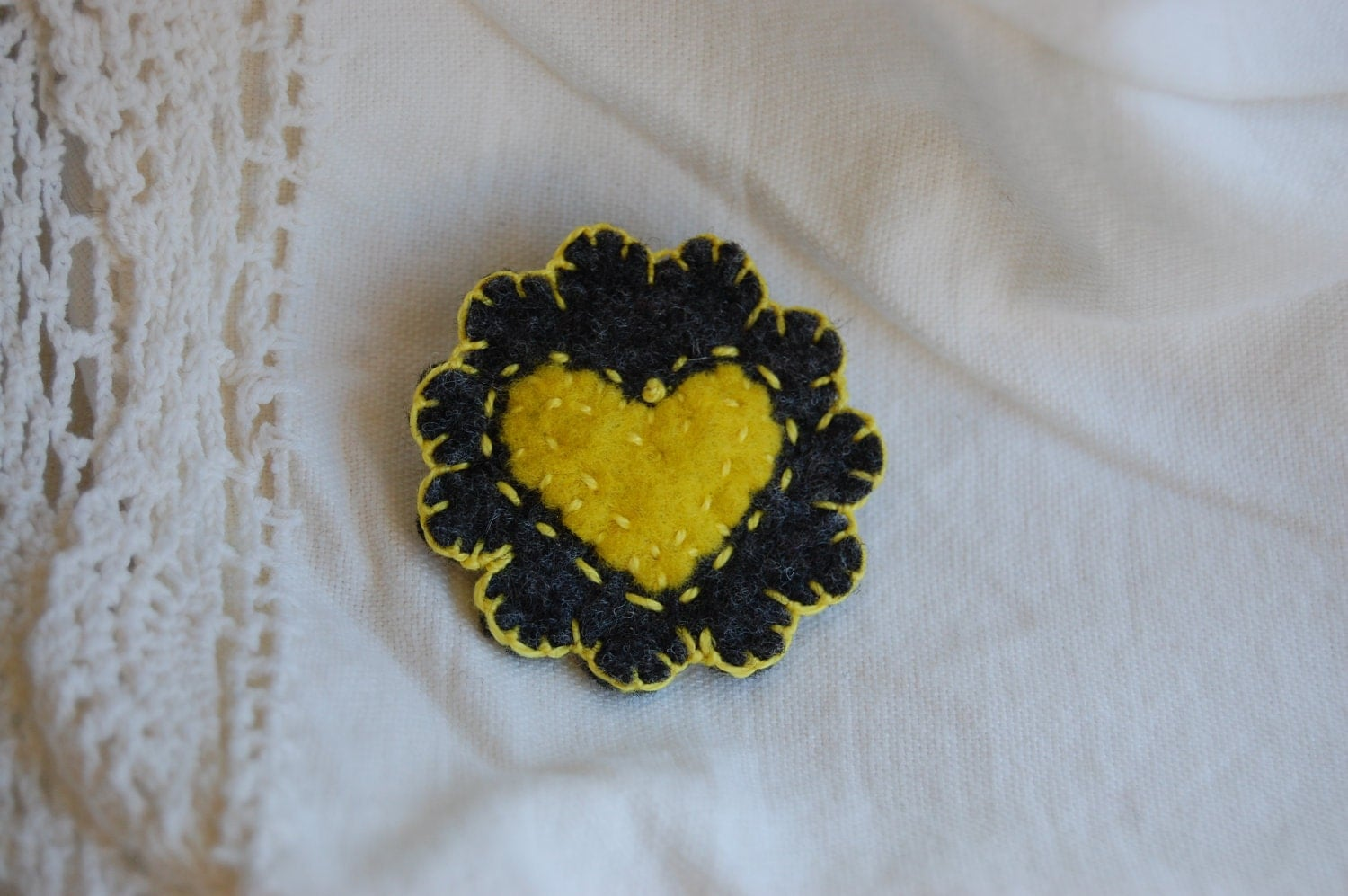 Grey and Yellow Embroidered Felt Brooch Pin