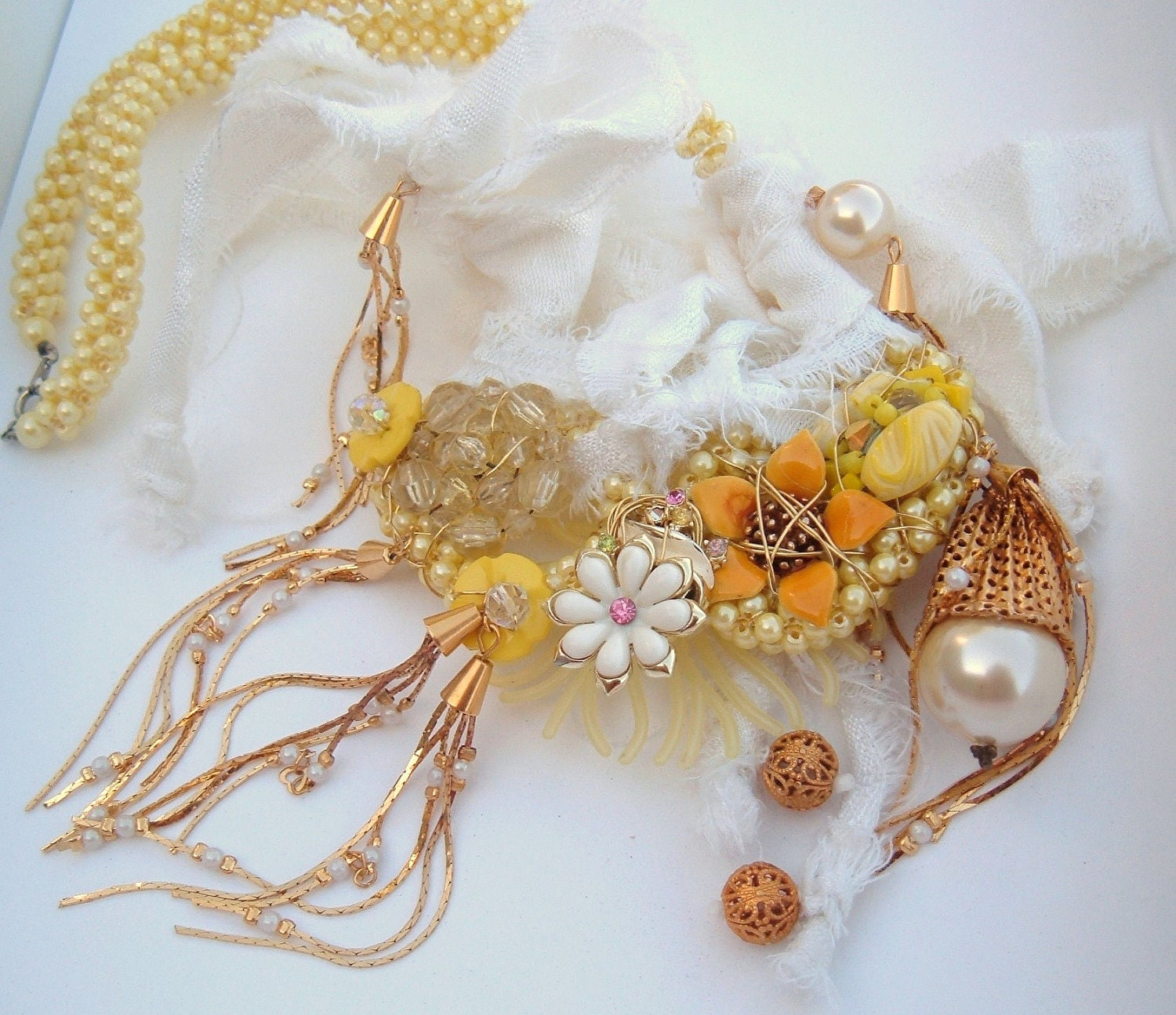 Yellow SheDazie Vintage recycle statement flowers and romance ooak necklace