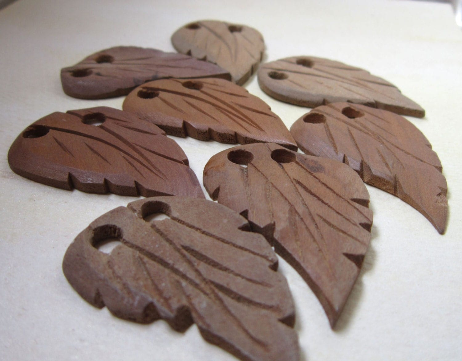 Vintge wooden carved leaves button costume trim by rakubuttons
