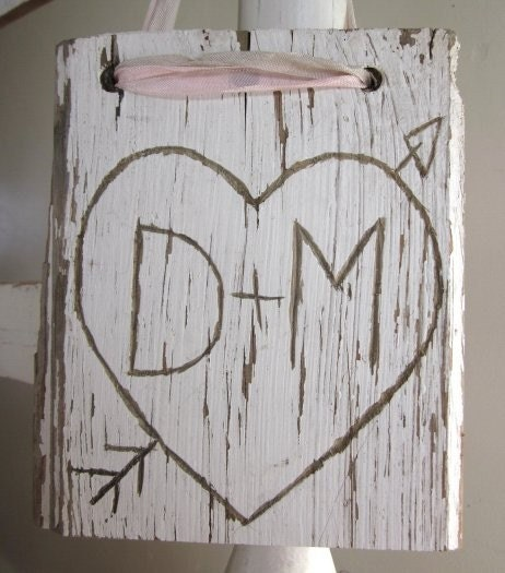 Shabby Chic Personalized Heart Hand Carved on Old White Weathered Wood