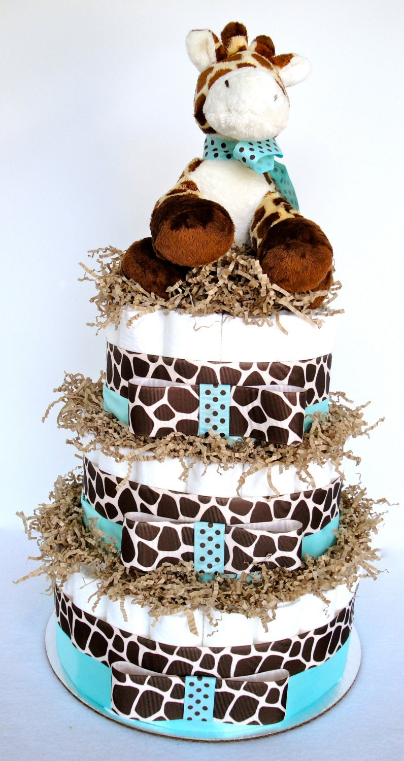 Diaper cake giraffe theme tiffany blue by for Baby shower decoration diaper cake
