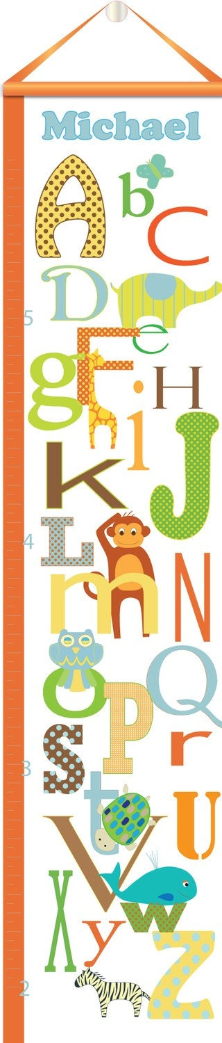 Animal Alphabet Growth Chart - Personalized