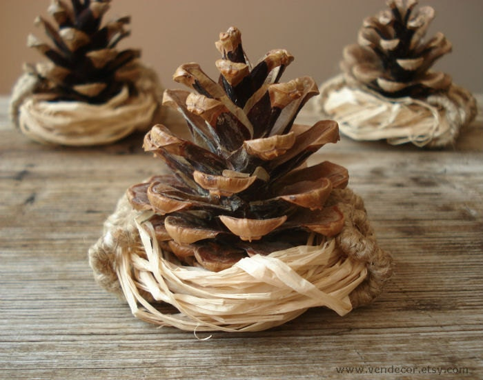 Natural Pinecone Nest Ornament, Autumn Rustic Woodland Wedding, Brown Natural Wood Home Decoration, Pine Cone Favor, Beige Brown Table Decor - VENDecor