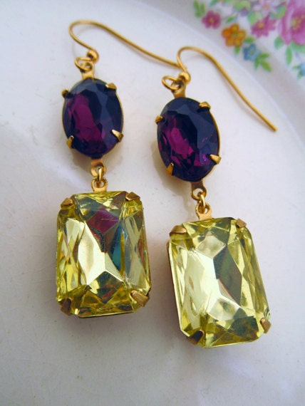 "Crystal Earrings, Vintage Purple, Canary Yellow Earrings, Dangle Earrings, Purple and Yellow, Purple Amethyst, ""Lemonade"""