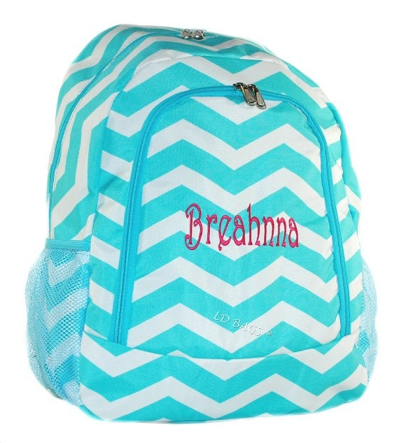 Chevron Backpack Aqua Canvas School Kids Girls Bag with Free ...