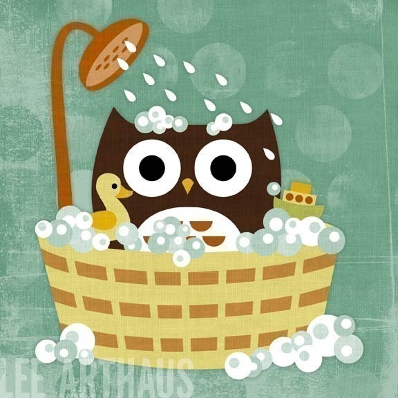 Owl in Bathtub 6 x 6 Print
