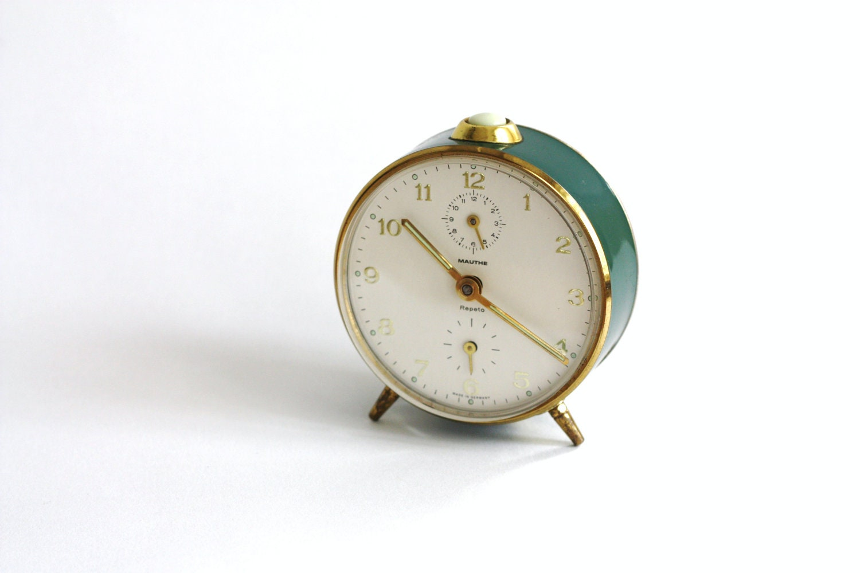 Vintage Alarm Clock / Dark Green & Gold Alarm Clock / German Alarm Clock