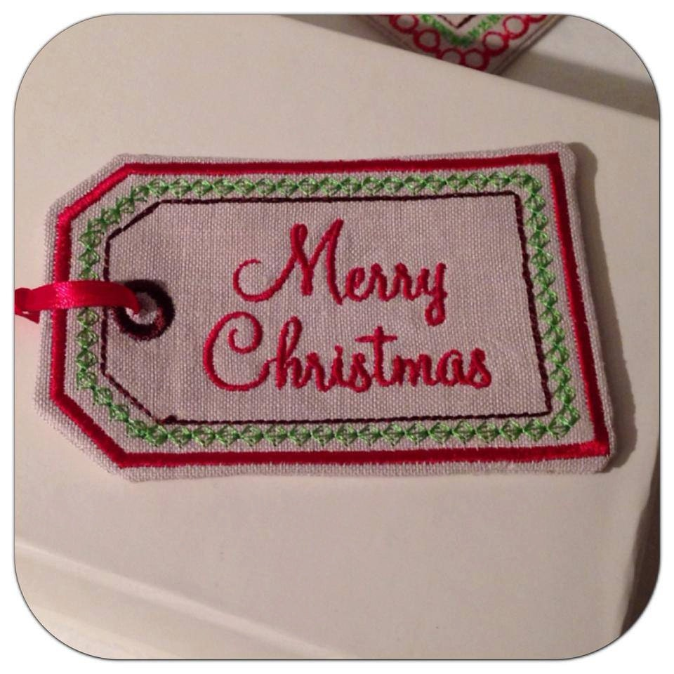 Christmas gift tag embroidery design by theembroideryschool