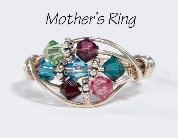 Grandmother Mother S Ring 7 Birthstones By Silveradojewelry