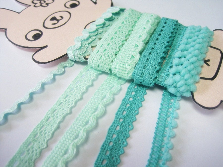 5 yards Mint Green-Teal Trims, LaceTrim, Rick Rack Trim, Crochet Lace Trim, Cotton Lace Trim, Mint, Teal, Mini Pom Pom trim, Tiny pom pom - ichimylove