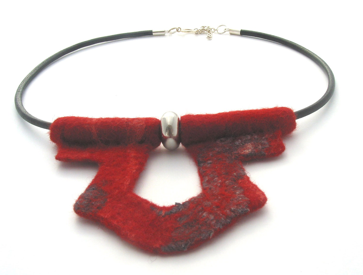 Red felted necklace on leather thong,cord,felt necklace,ethnic,tribal,boho,modern,ethnic. - CraftbyMaryla