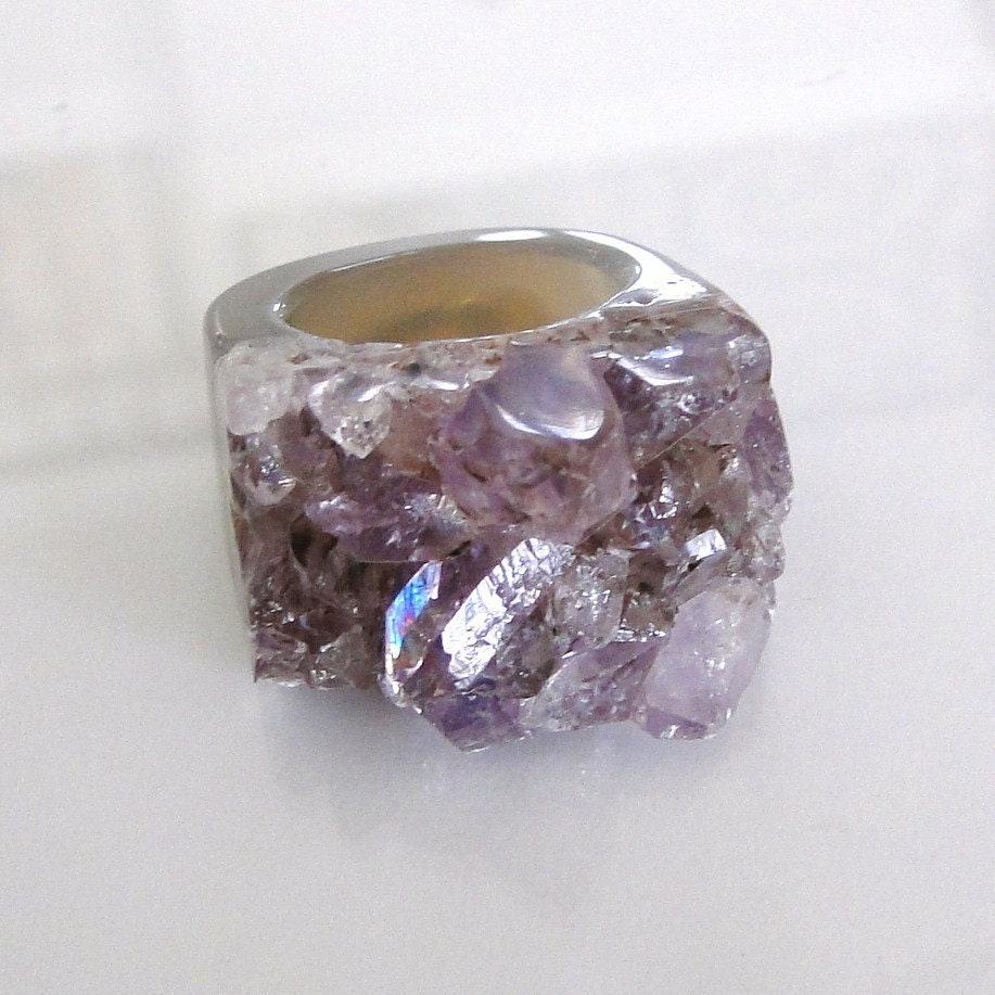 The Girl From Ipanema Ring - Stunning Amethyst Geode Size 6 Ring