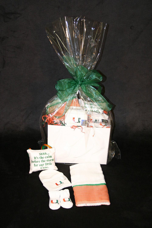 Baby Gift Basket Etsy : University of miami baby gift basket by bbabiesbiz on etsy