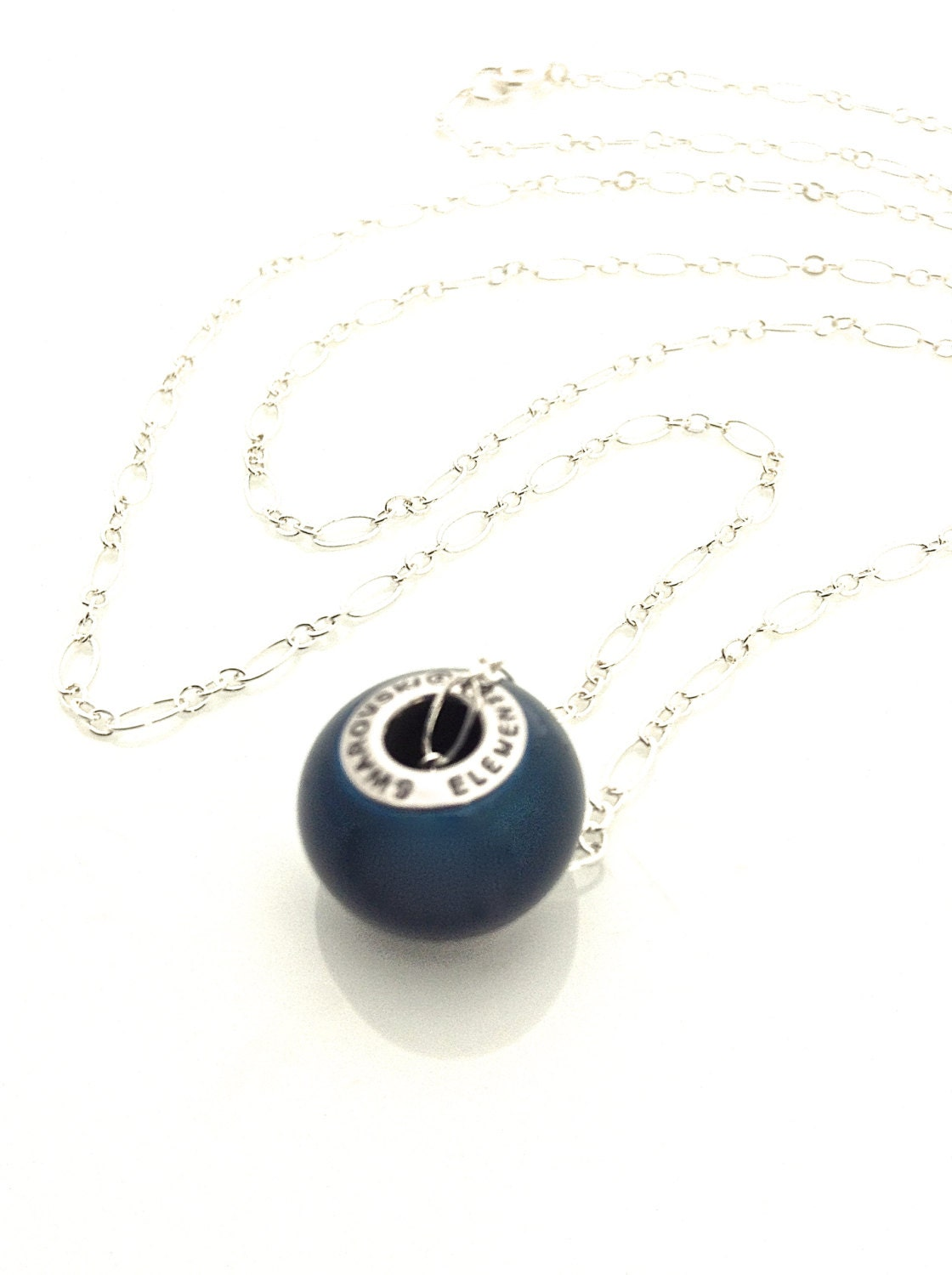 Dark Blue Necklace, Navy Blue Necklace,  Dark Teal Necklace, Simple Pearl Pendant, 24 inch Silver Chain, Vegan Necklace - UrbanClink
