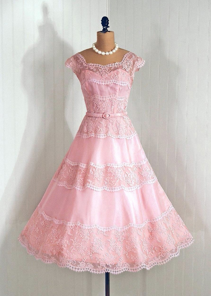 Gorgeous pink and mauve dress, via Etsy: TimelessVixenVintage