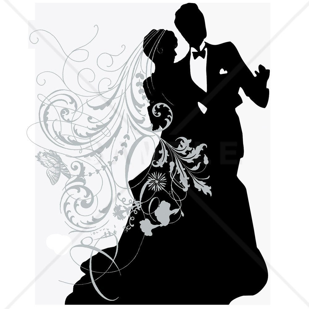free wedding couple silhouette clip art - photo #12