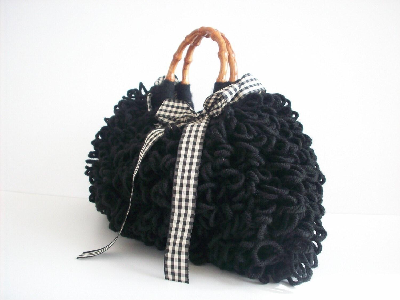 دستباف NzLbags -- هر روز کیسه ای -- Knitted کیف دستی سیاه پشمالو Nr -- 084