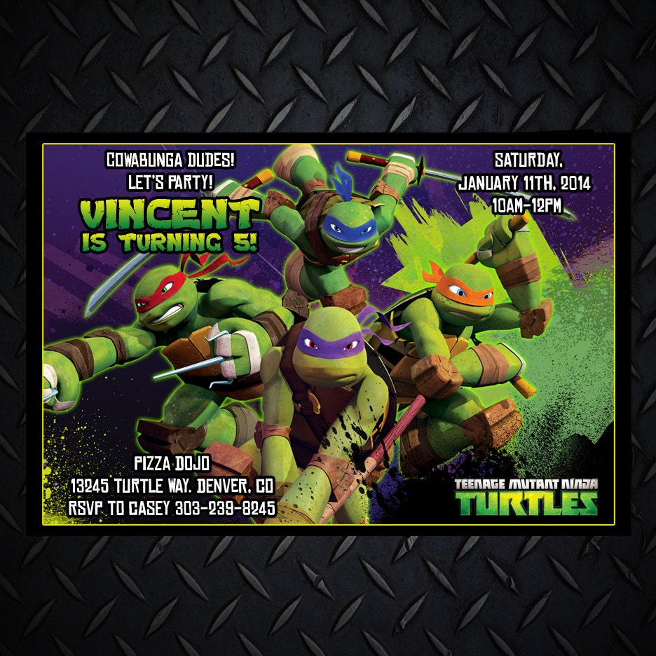 Teenage Mutant Ninja Turtles Invitations TMNT by ...