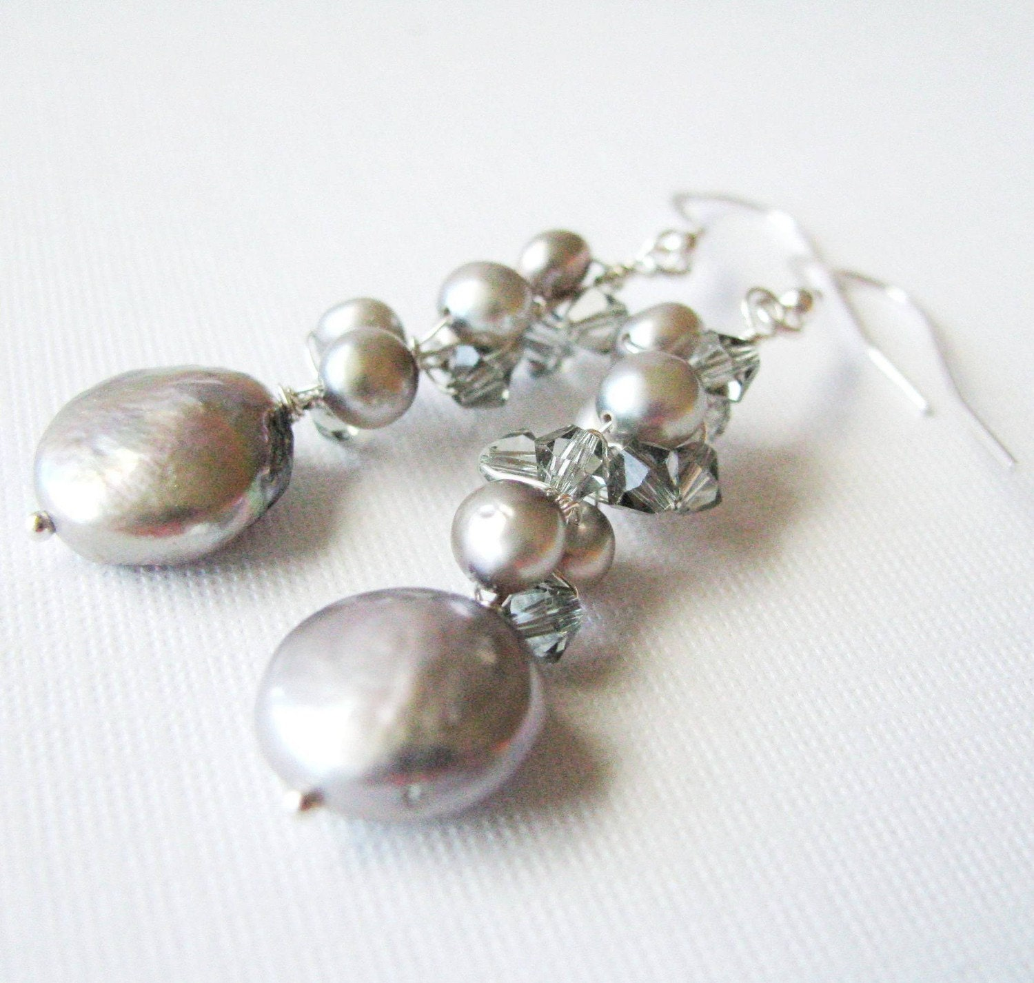 Silver Mist - Silver Freshwater Pearl and Swarovski Crystal Earrings in Sterling Silver - Bridal, Prom or Special Occasion