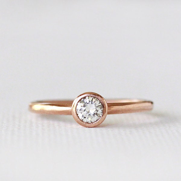 14k Rose Gold Engagement Diamond Ring By AndreaBonelliJewelry