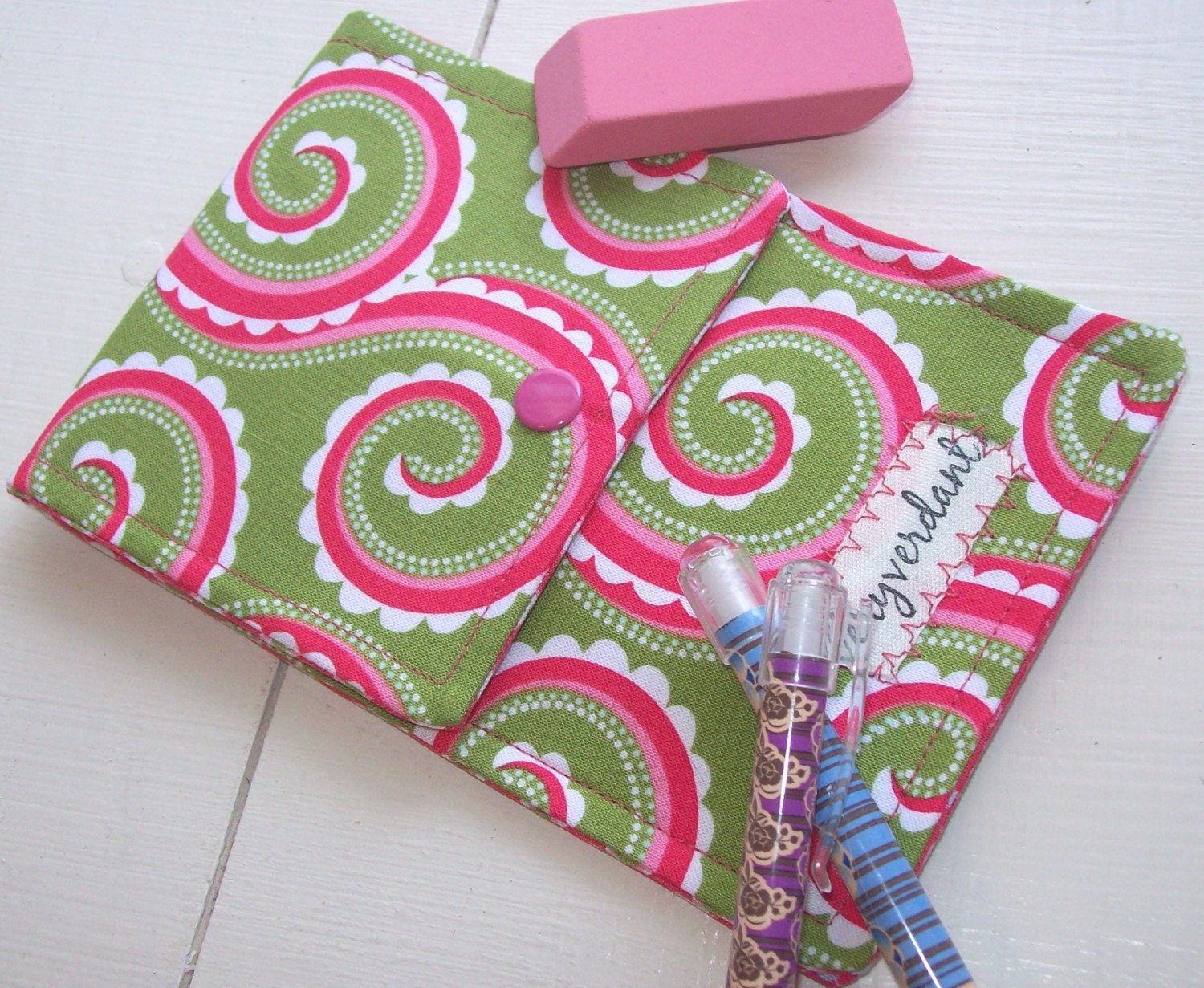 Pencil Pouch in Green and Pink