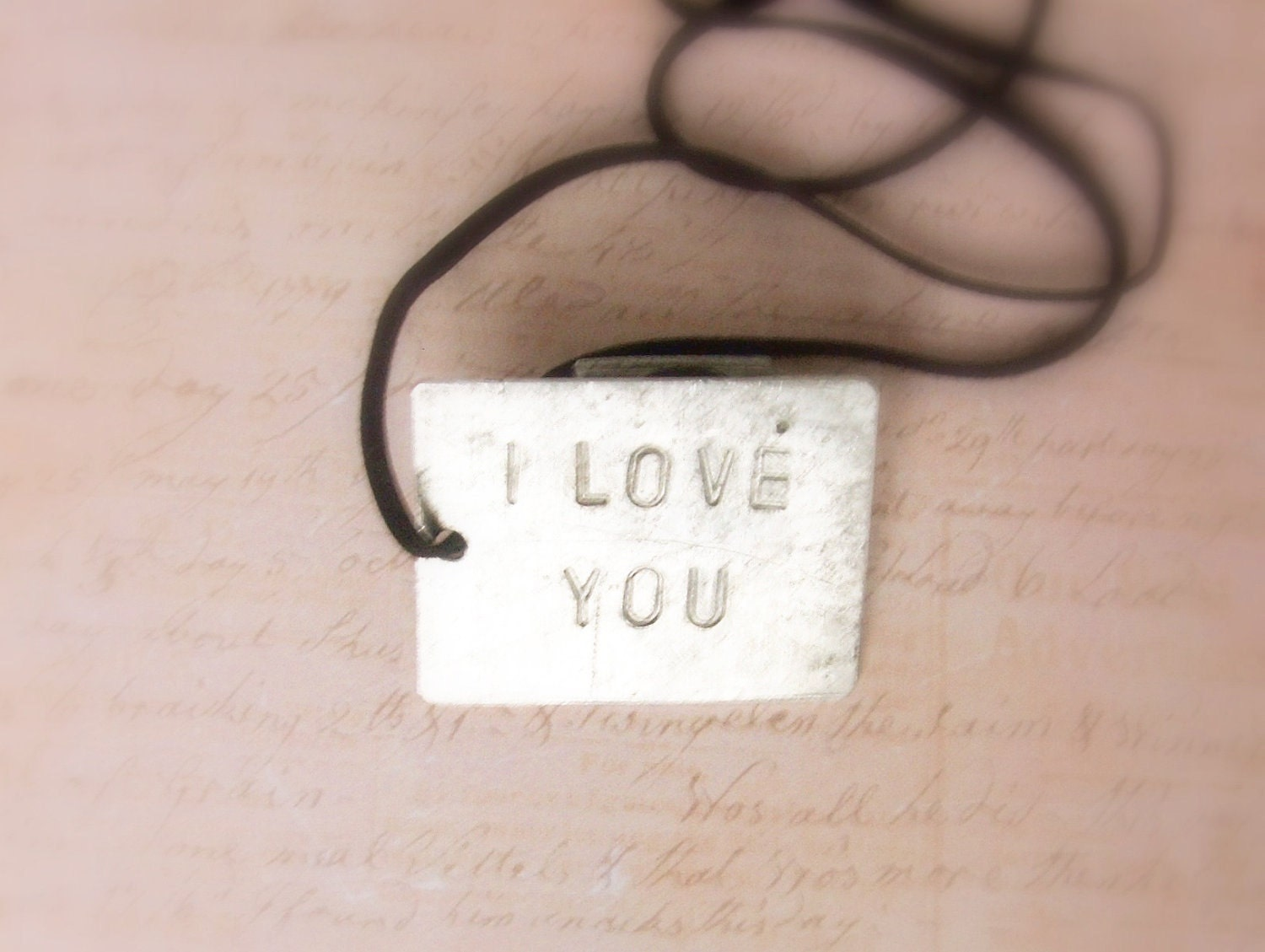 I LOVE YOU - hand stamped  Personalized necklace pendant - gift for him