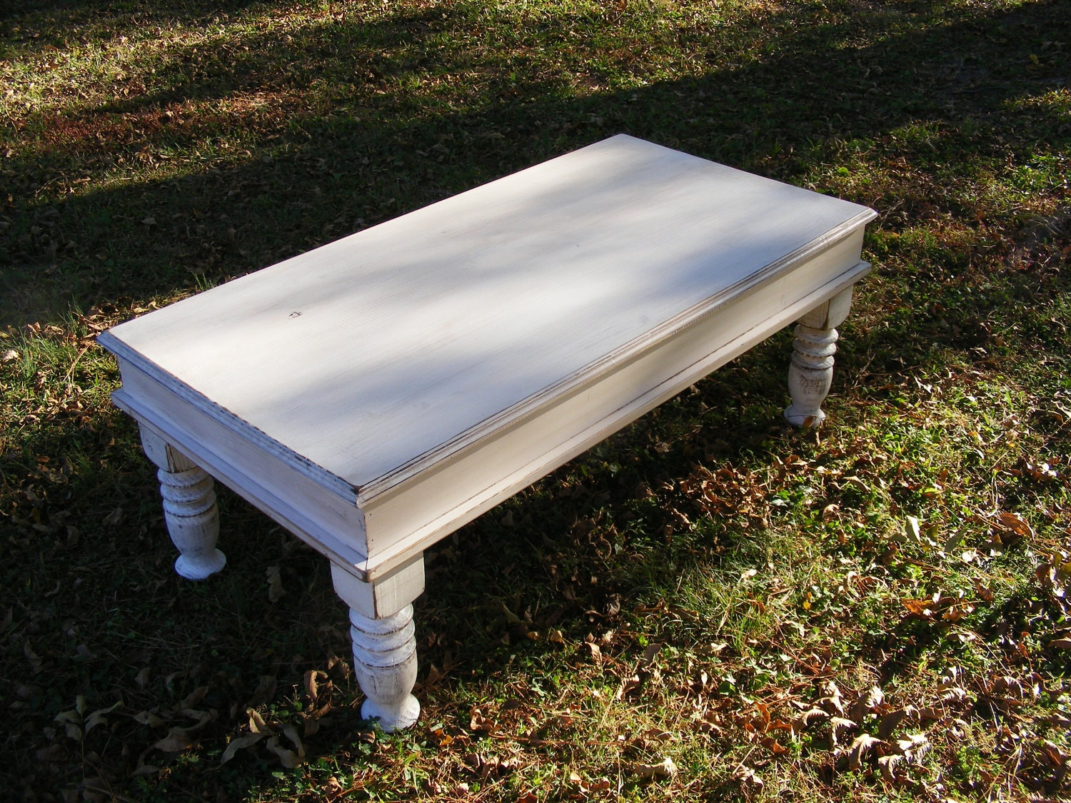 Shabby White Coffee Table With Beautiful Hand By Thewoodworkman