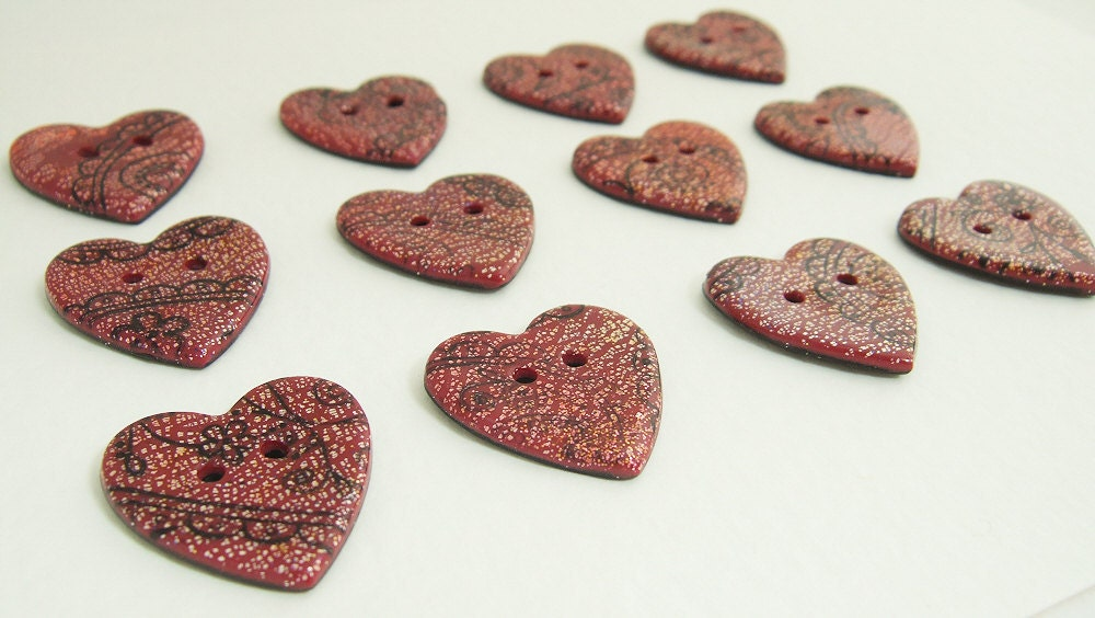 4 Sparkly red buttons, polymer clay