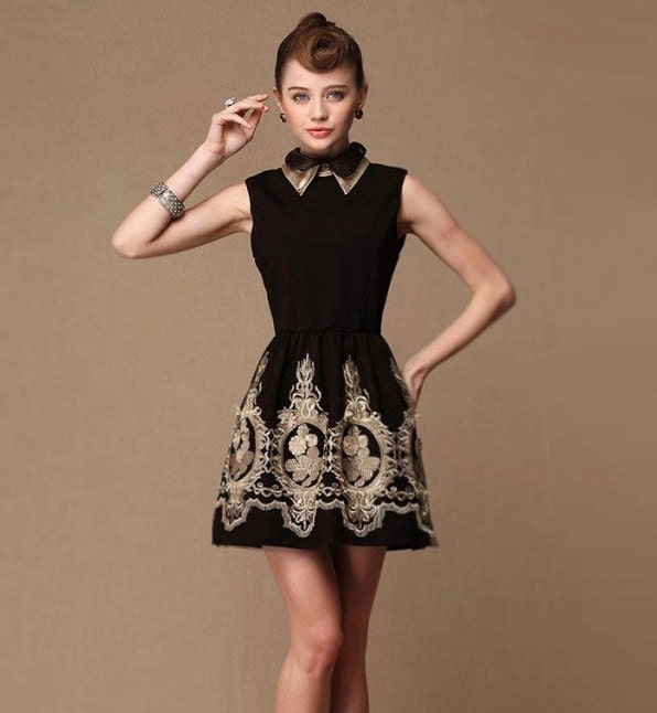 Baroque royal gold embroidery dress - L XL EU 38 40 US 6-10 - black folk russian french laces new year party elegant christmas tunique - laPupaHuman
