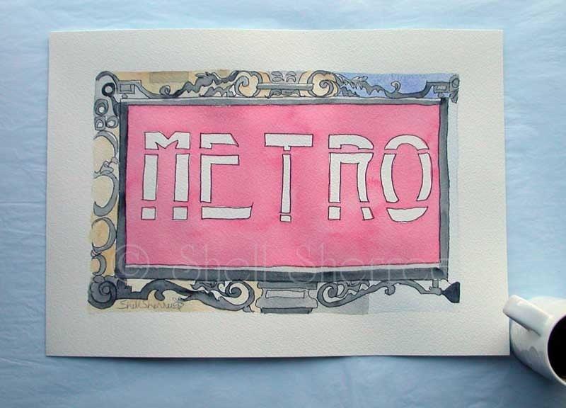 Paris Metro Red 1 original illustration