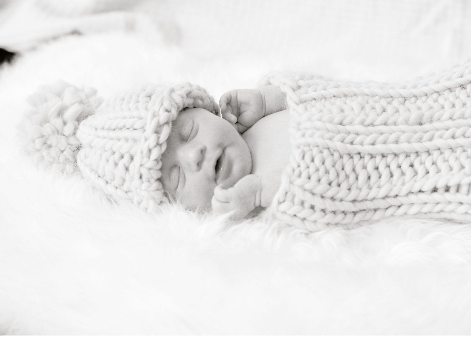 Newborn Ribbed Cocoon and Ribbed Super Pom Pom Hat knitting PATTERN - PDF format