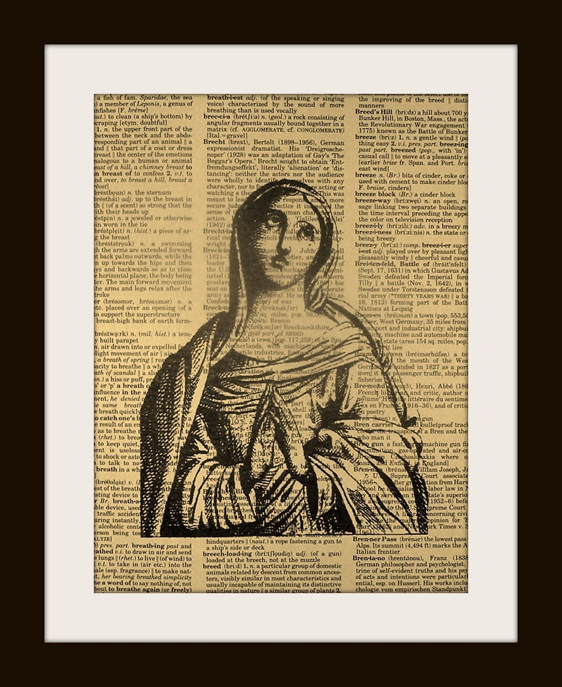 MARY OUR LADY Print on Vintage Dictionary Page FREE SHIPPING WORLDWIDE