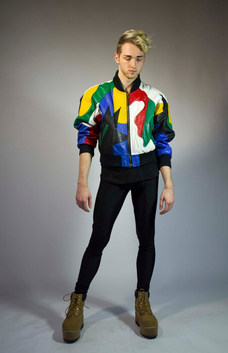 80s Colorful Abstract Print Leather Bomber Jacket Mens By